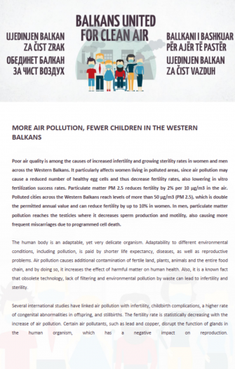 More Air Pollution, Fewer Children in the Western Balkans
