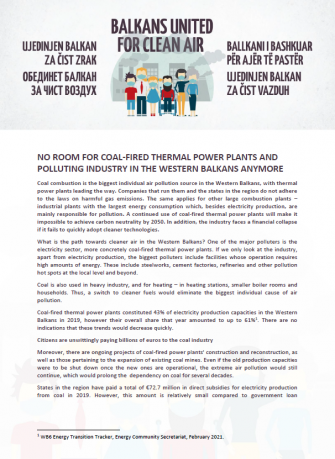 No room for coal-fired thermal power plants and polluting industry in the Western Balkans anymore